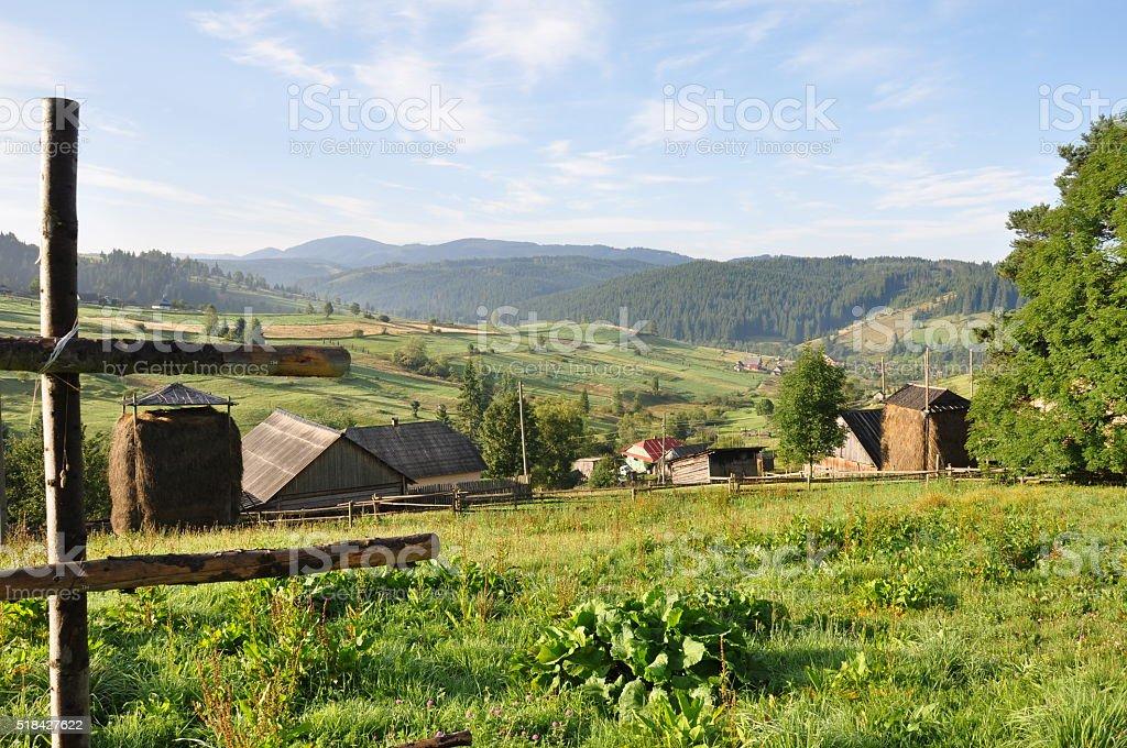 Mountain village in Carpathians stock photo