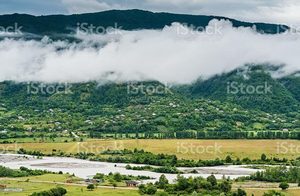 Mountain village in Georgia stock photo