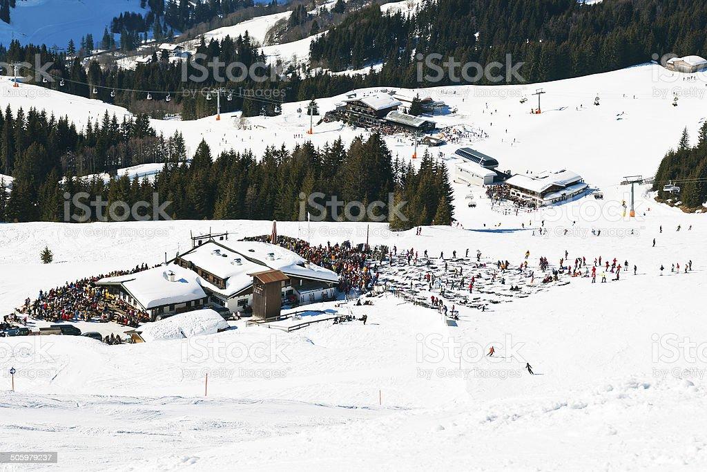 mountain village in Saalbach Hinterglemm region stock photo