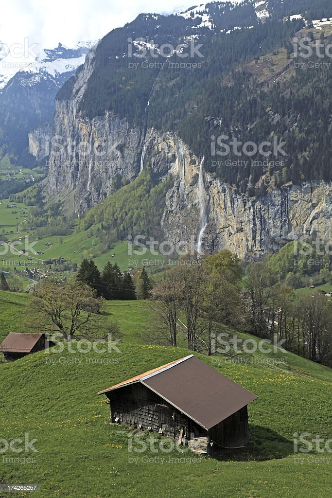 mountain village in the Alps, Switzerland . royalty-free stock photo