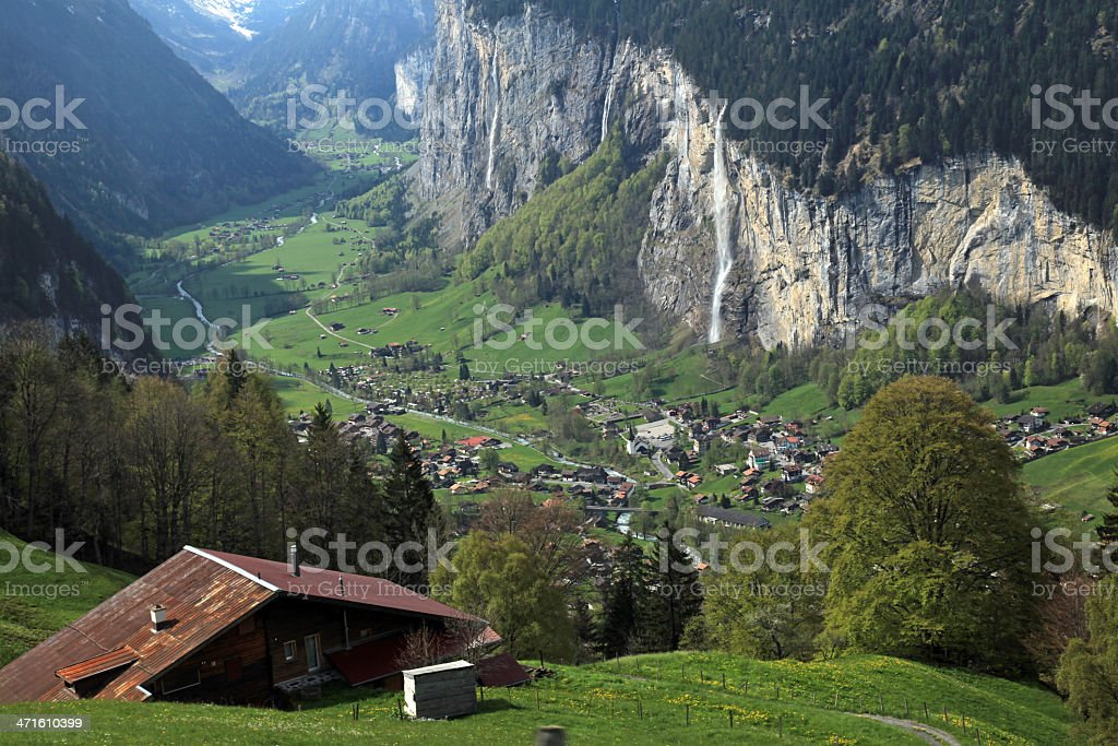 mountain village in the Alps, Switzerland . royalty-free stock photo