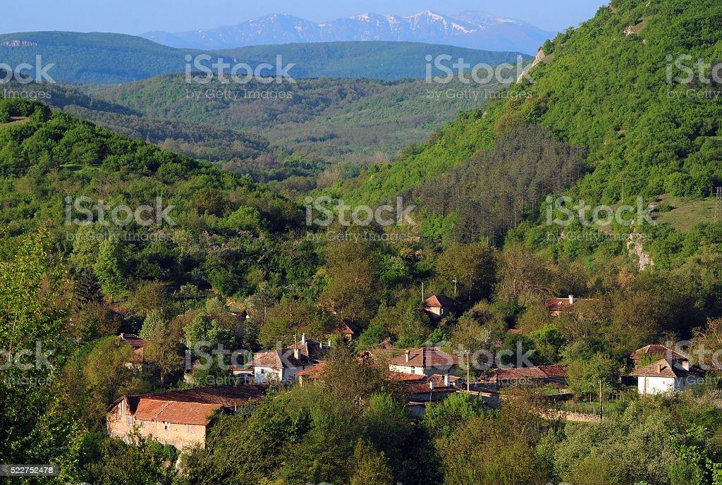 Mountain Village in the Springtime stock photo