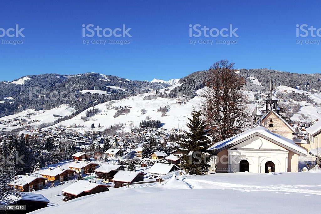 Mountain Village of Megeve stock photo