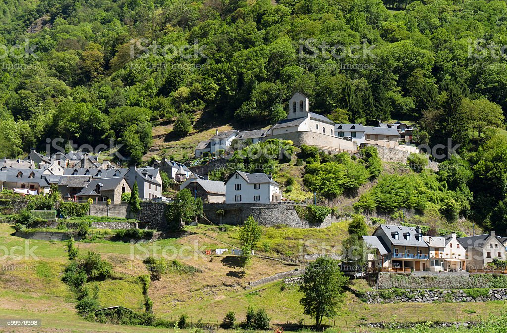 mountain village, Pyrenees France stock photo