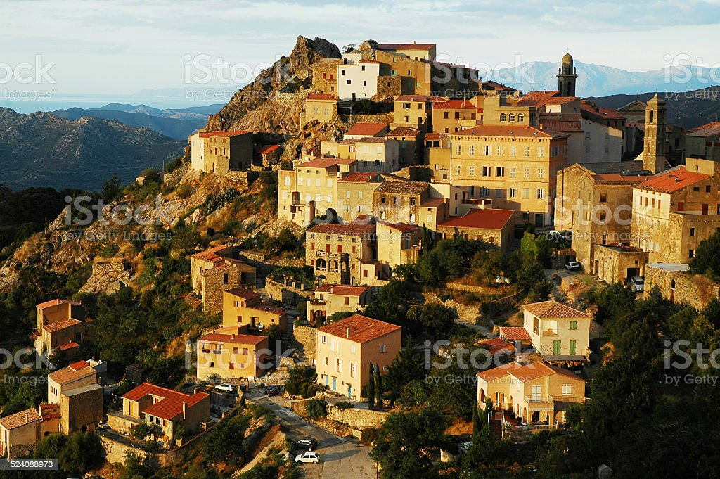 Mountain village. Speloncato, Corsica stock photo