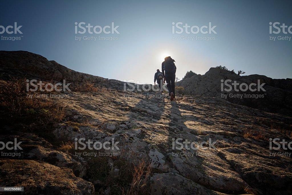 Mountain walk trekking stock photo