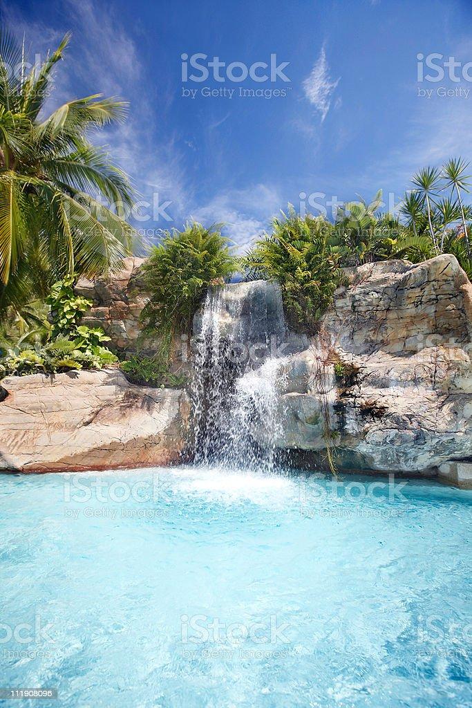Mountain waterfall in malaysia rainforest. royalty-free stock photo