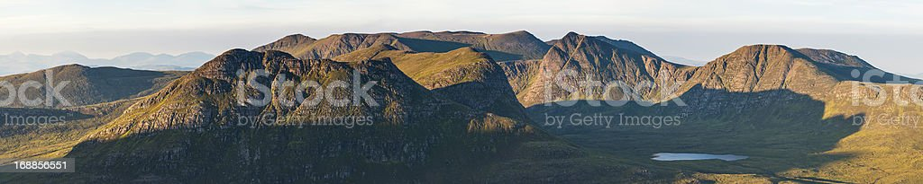 Mountain wilderness sunrise Highland glens panorama Scotland royalty-free stock photo