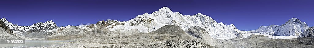 Mountain wilderness super panorama glacier lakes snowy peaks Himalayas Nepal stock photo