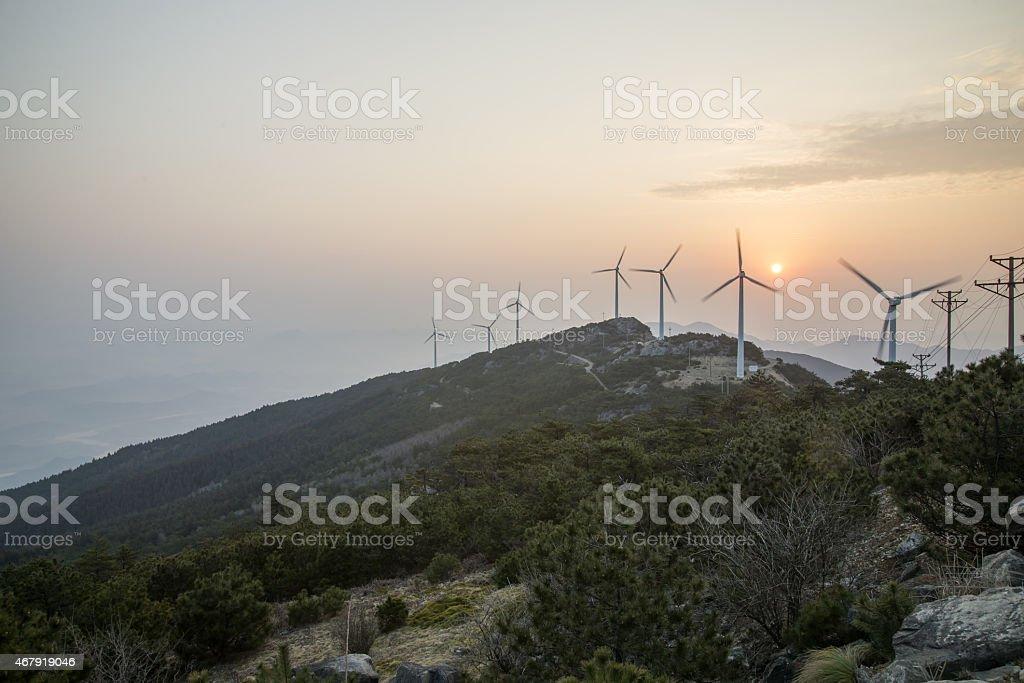Mountain windmill stock photo