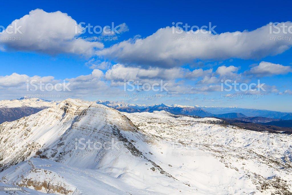 Mountain winter panorama, Italy stock photo