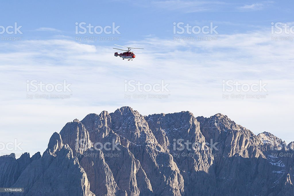 Mountain with a Helicopter royalty-free stock photo