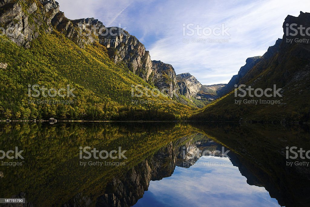 Mountain with a lake reflection stock photo