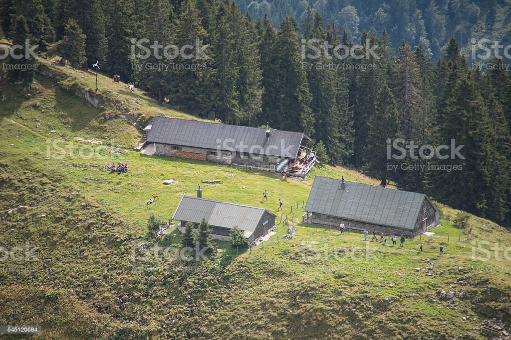 mountain with cabin on alp stock photo