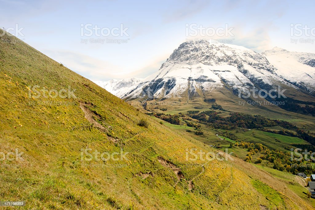 Mountain with First Snow stock photo