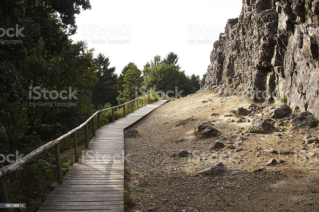 Mountain with foot path stock photo
