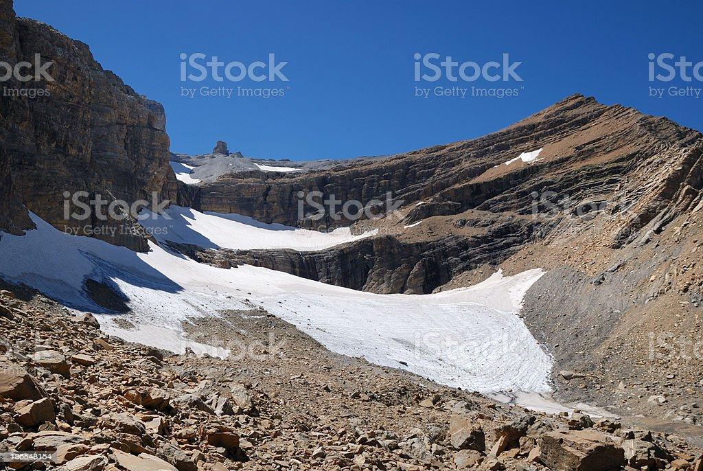 Mountain with glacier and moraine at the cirque de Gavarnie. stock photo