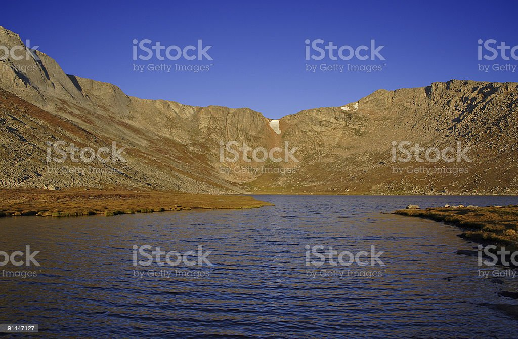 Mountain with lake stock photo