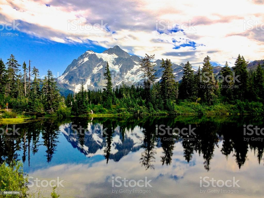 Mountain with Reflection stock photo