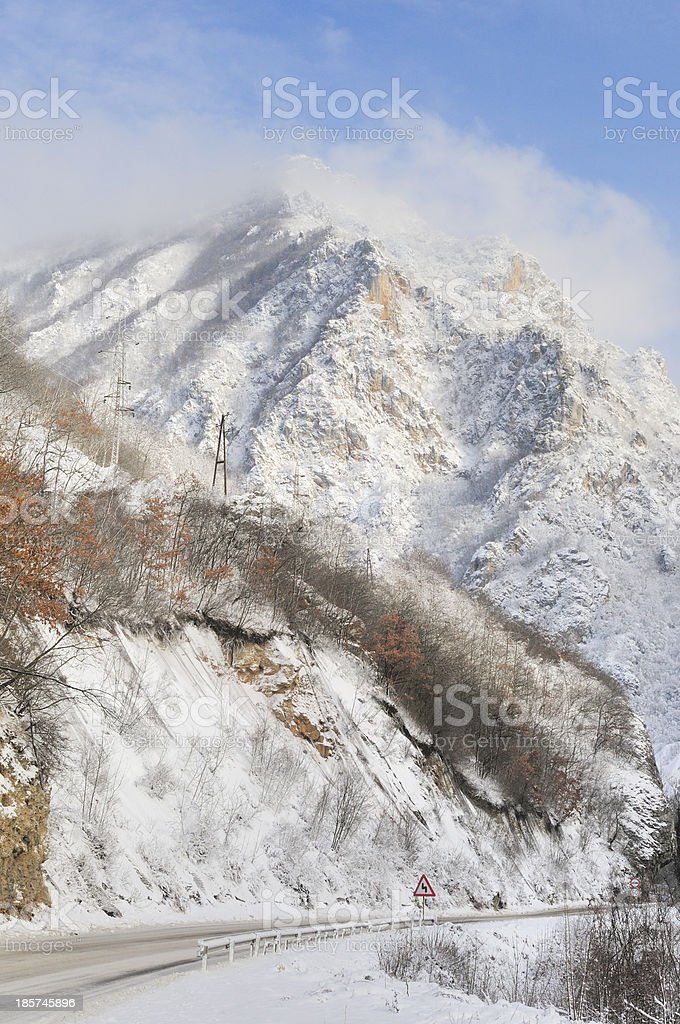 Mountain with road stock photo
