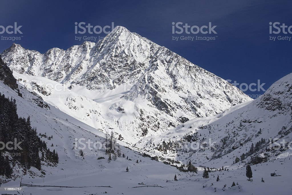Mountain With Sunlight And Blue Sky royalty-free stock photo