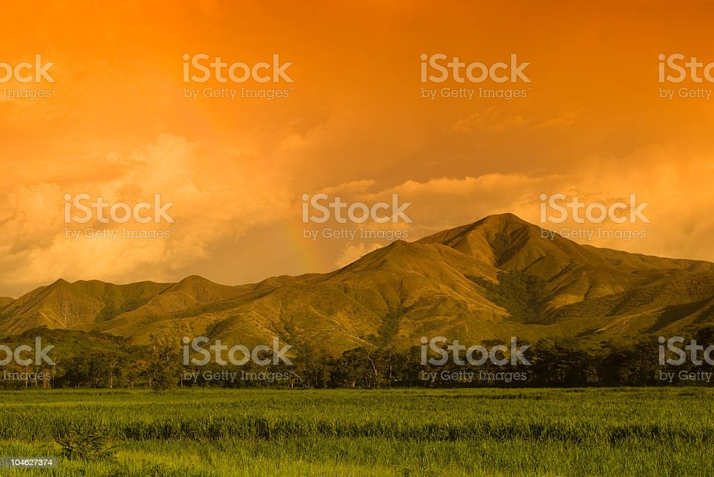Mountain with sunset royalty-free stock photo