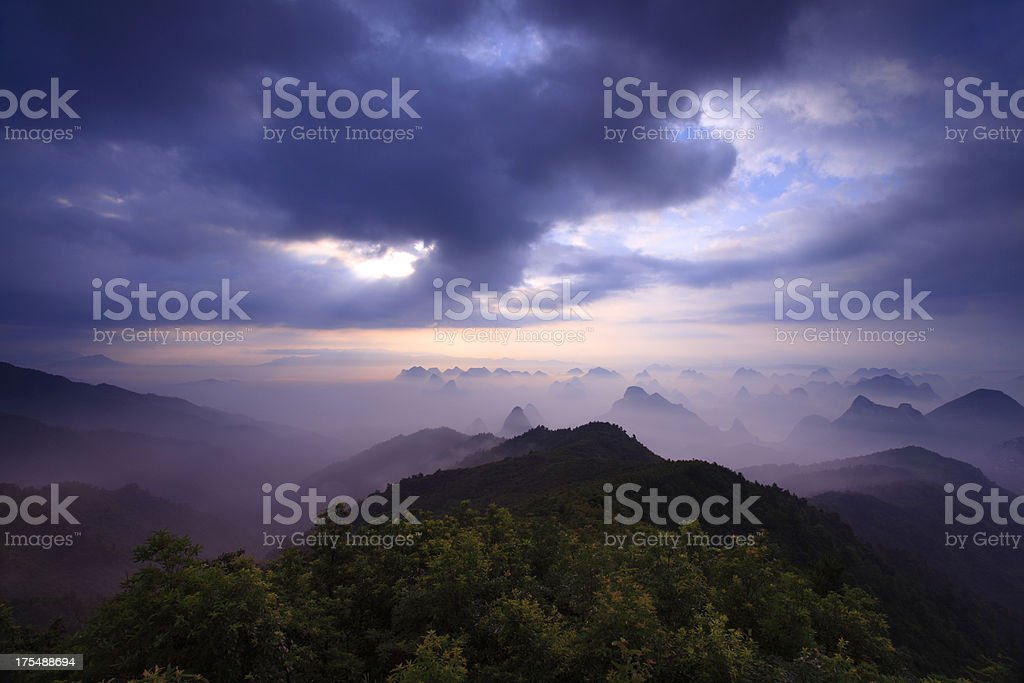Mountain Yaoshan in the Morning royalty-free stock photo