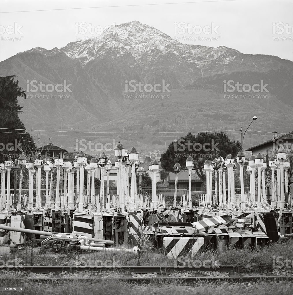 Mountain yet urban landscape in Italy - The North stock photo