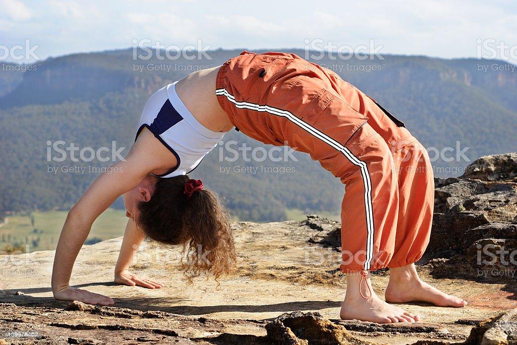 Mountain yoga 3 stock photo