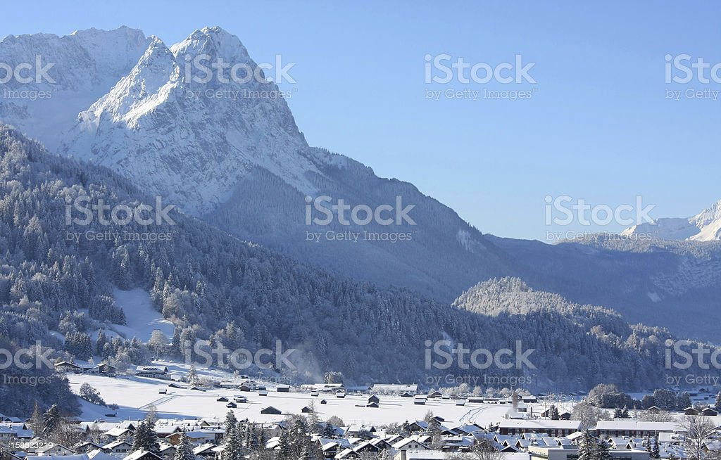 Mountain Zugspitze and idyllic Garmisch-Partenkirchen royalty-free stock photo
