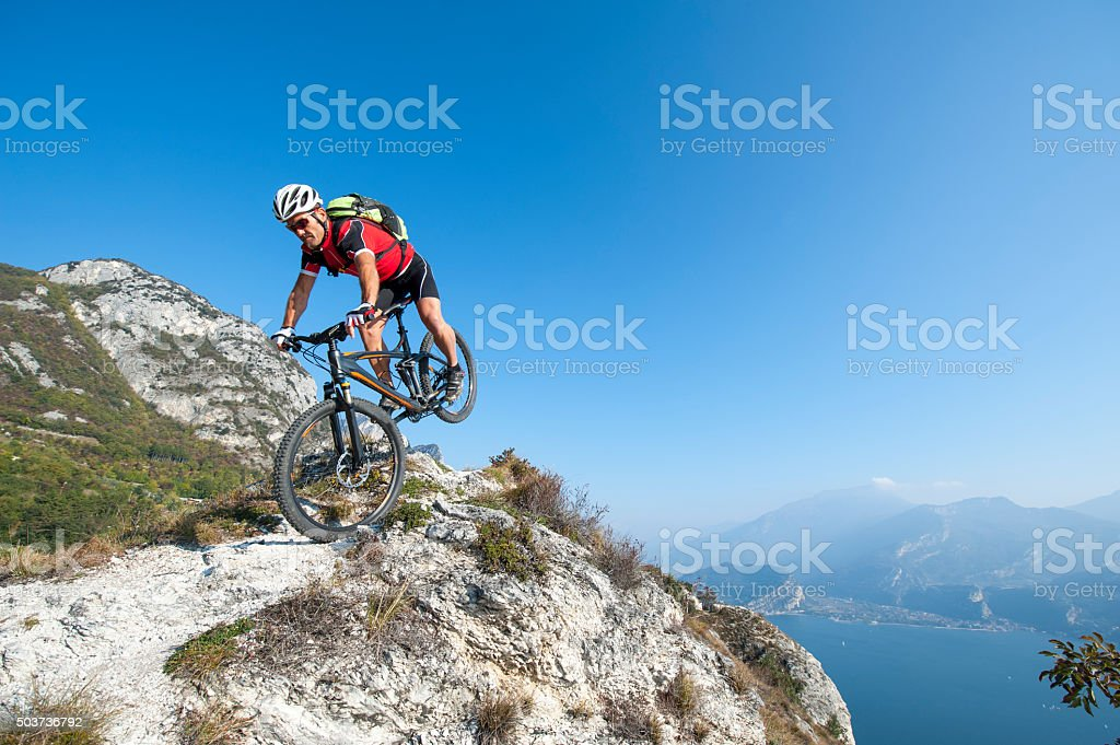 mountainbike acrobatic crash stock photo