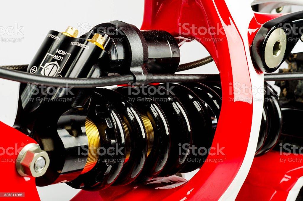 Mountainbike Coil Suspension closeup stock photo