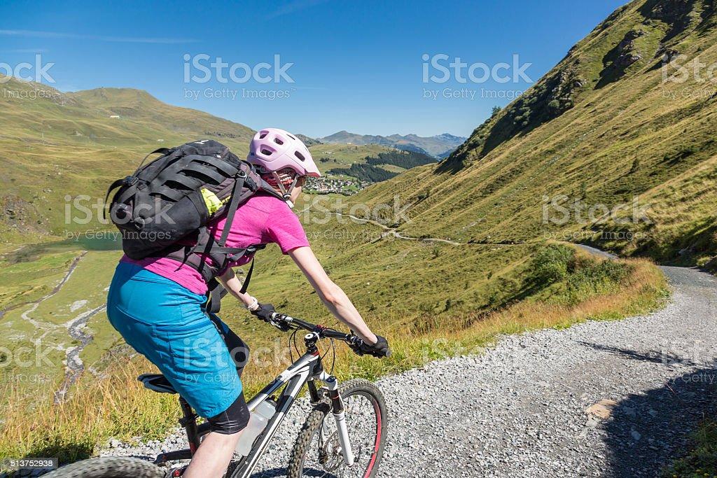 Mountainbike downhill into Arosa, Switzerland stock photo