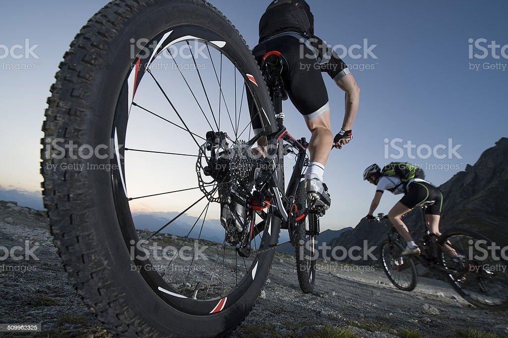 Mountainbike downhill - Mountain biking stock photo