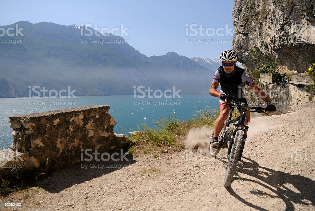 mountainbike drivers in that brake stock photo