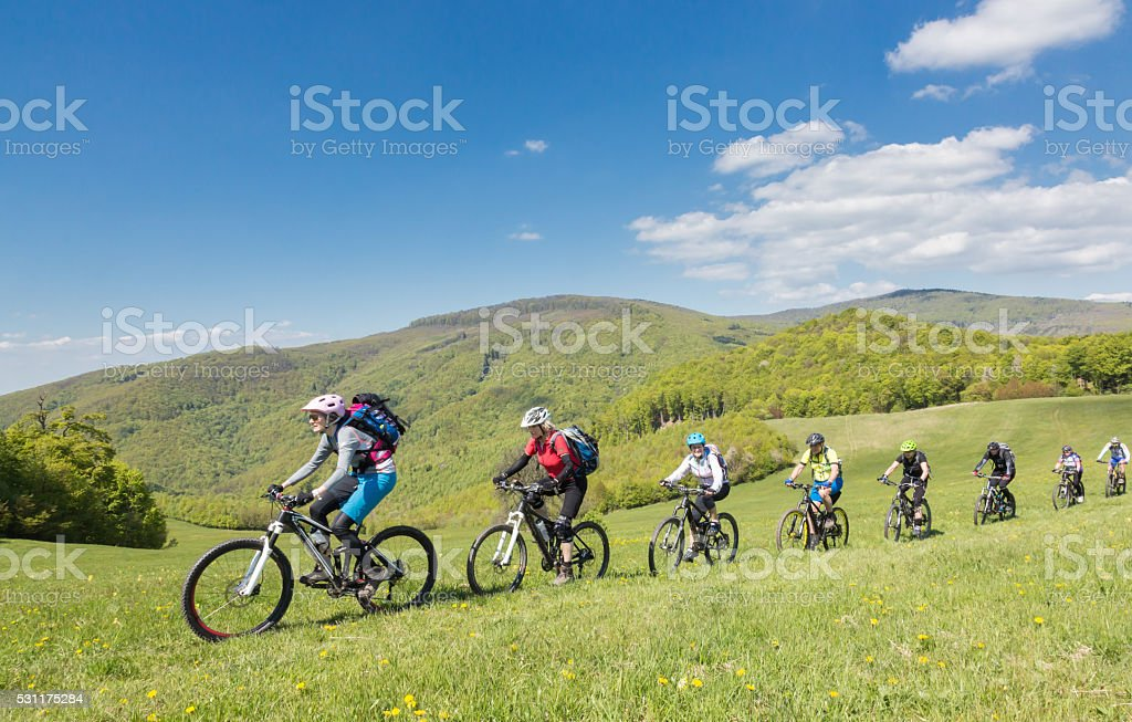Mountainbike Friendship in Slovakian Mountains stock photo