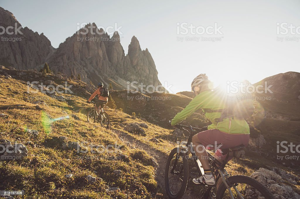 Mountainbike trail of the finest stock photo