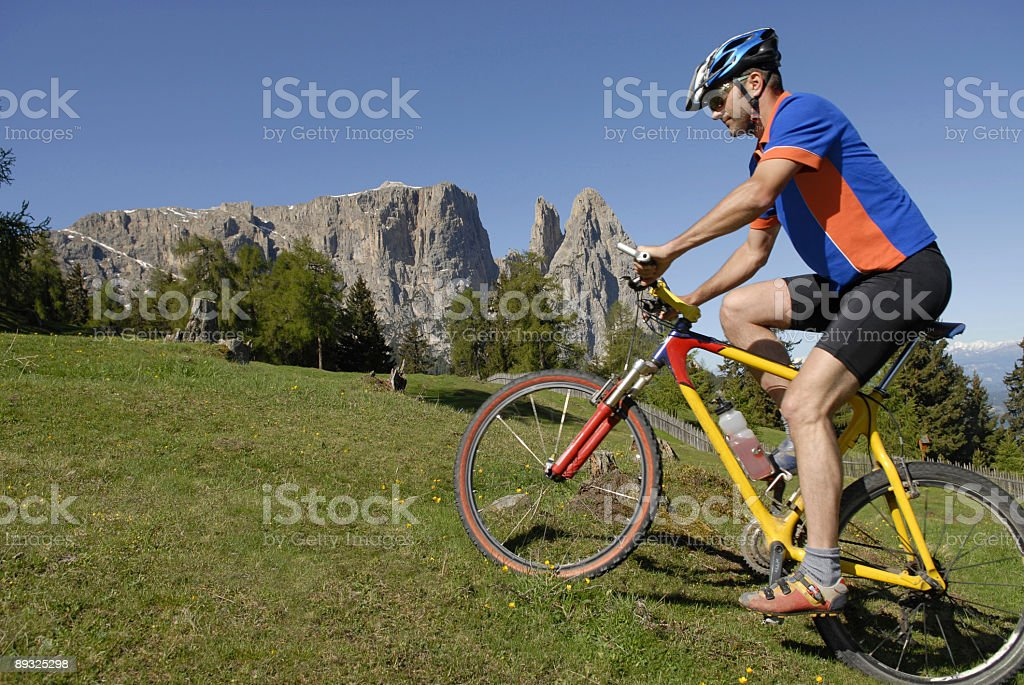 Mountainbiker in nature stock photo