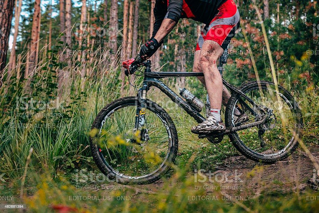 Mountainbiker 지역에서는 수원별! royalty-free 스톡 사진