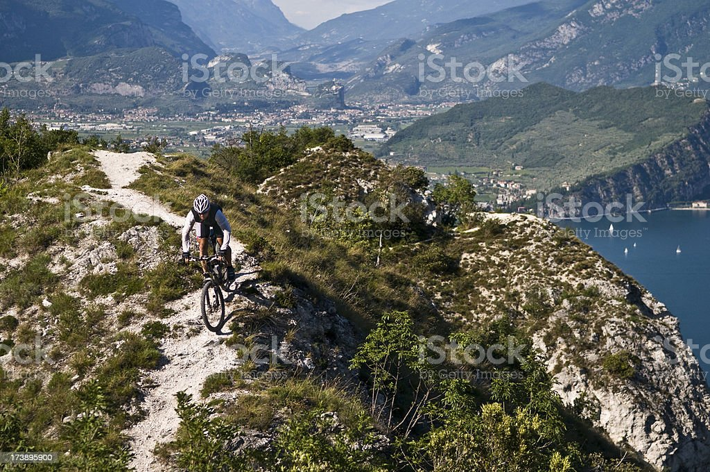 mountainbiker on the trail royalty-free stock photo