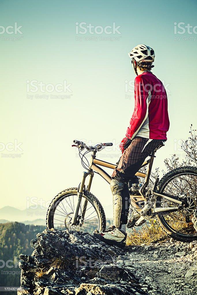 Mountainbiker on top royalty-free stock photo