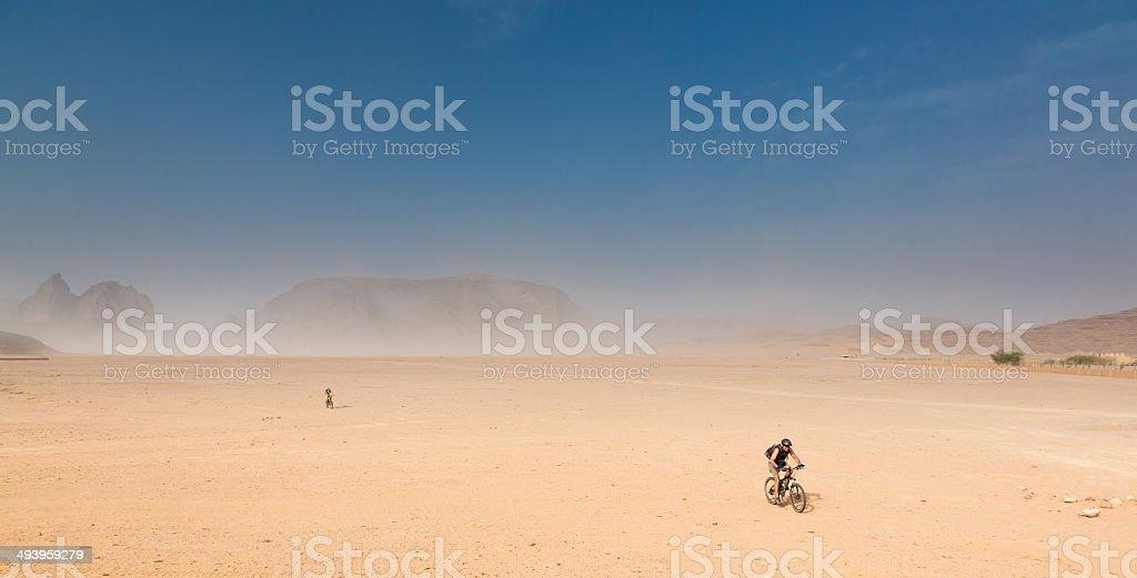 Mountainbiking at Jordan Desert Plains stock photo