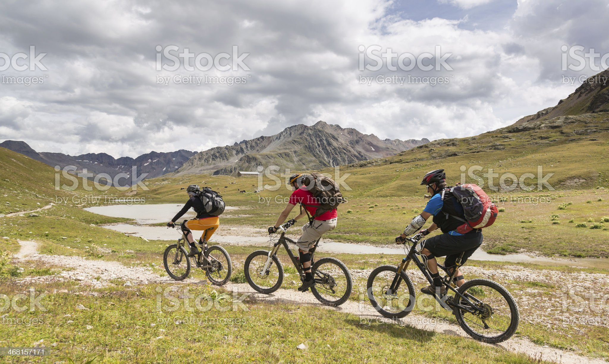 Mountainbiking at La Stretta, Switzerland royalty-free stock photo