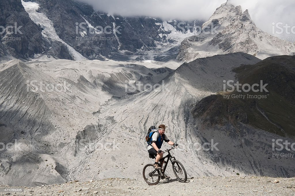 Mountainbiking at the moraine, South Tyrol royalty-free stock photo
