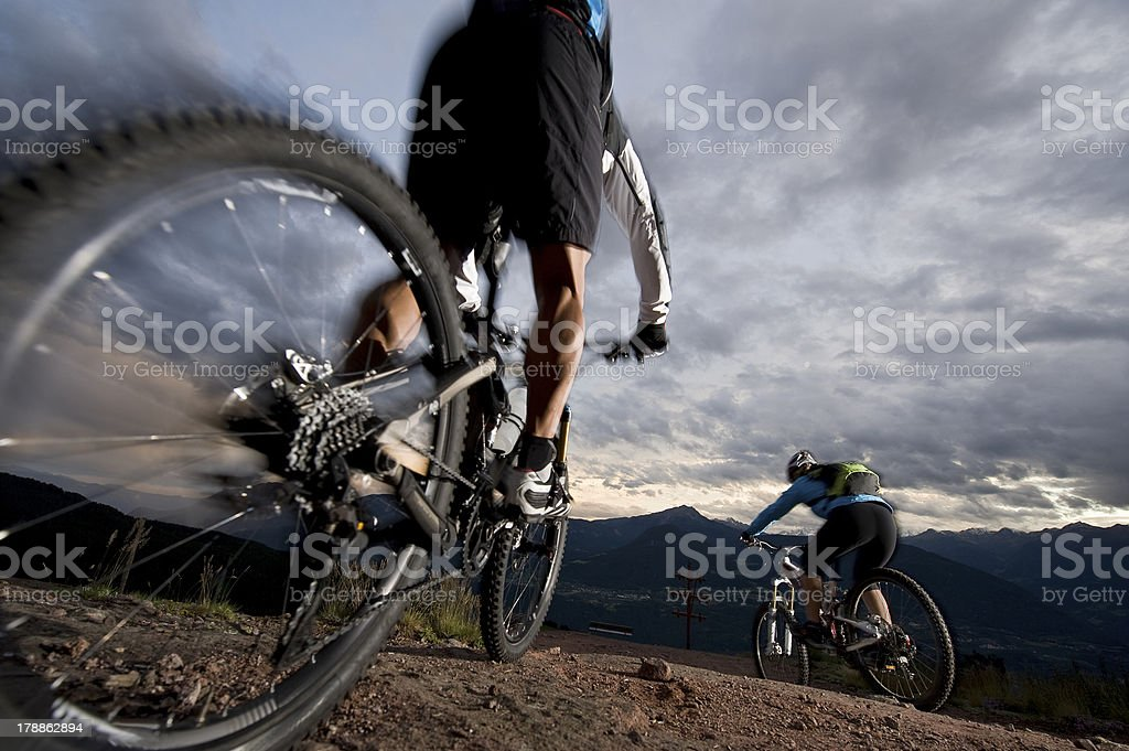 Mountainbike / Mountainbiking by night stock photo