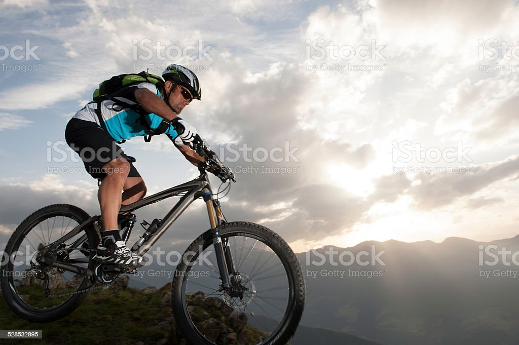 Mountainbiking - downhill - Mountainbike stock photo