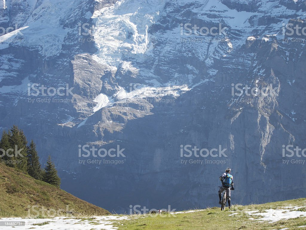 Mountainbiking Eiger royalty-free stock photo