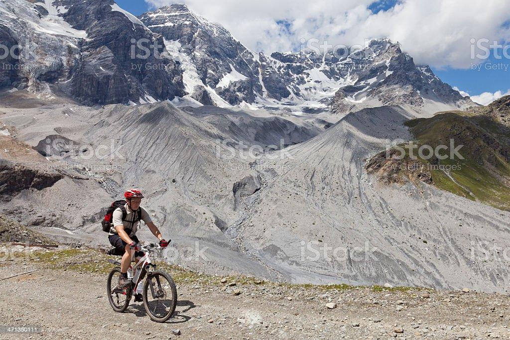 Mountainbiking in glacier regions, South Tyrol stock photo