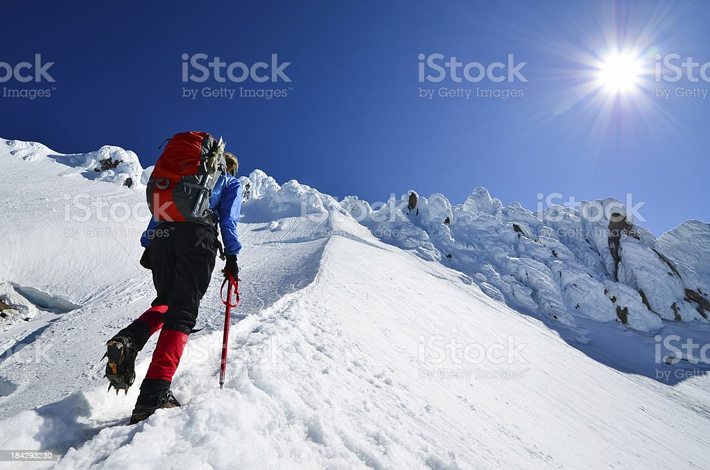 Mountaineer ascending royalty-free stock photo