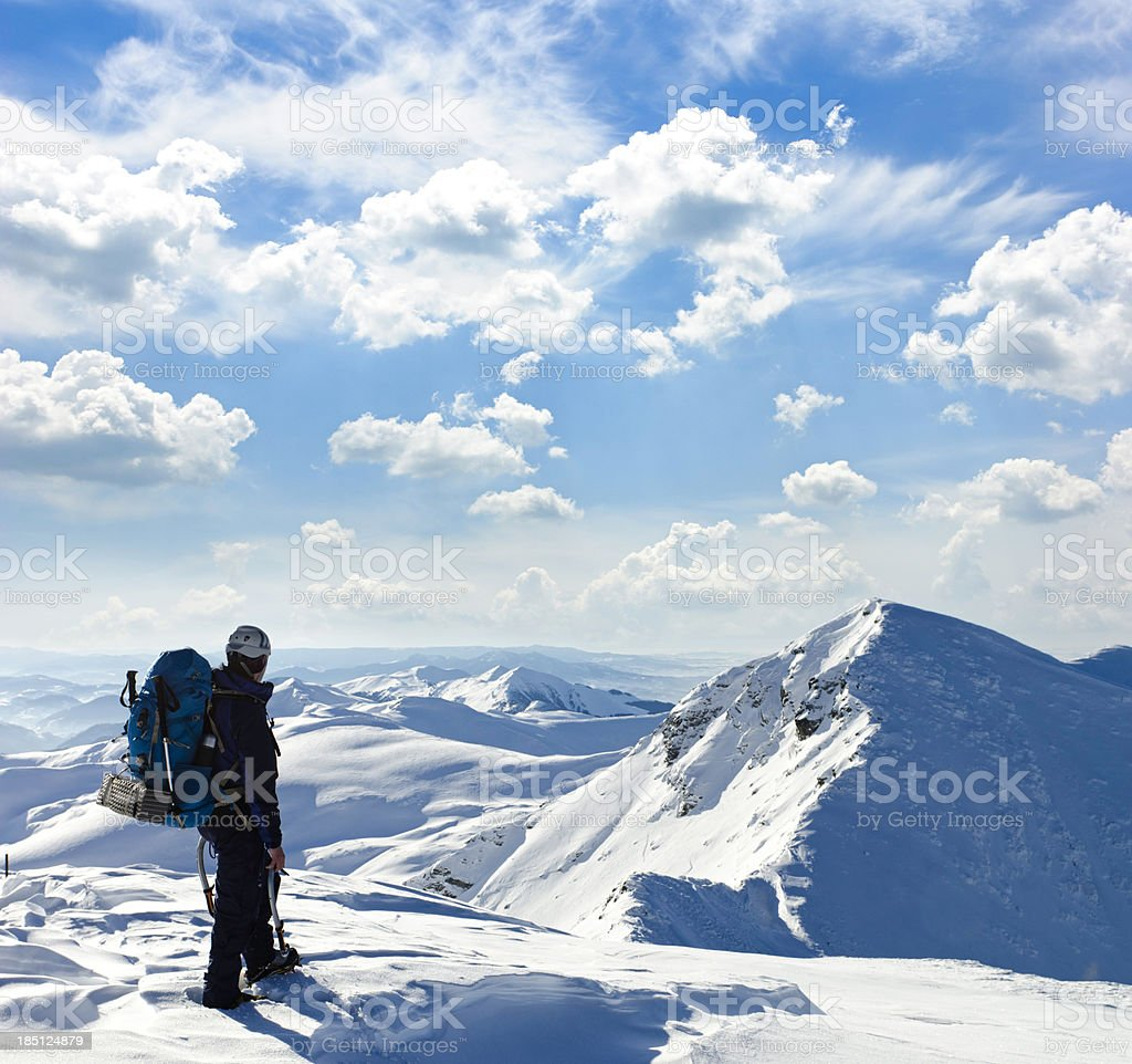 mountaineer heading for the summit royalty-free stock photo